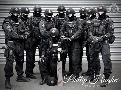 QPS Media Unit @QPSmedia  Our SERT pays tribute to the late Phillip Hughes #PutYourBatsOut #RIPPhillipHughes @CricketAus Retweeted by CricketAus