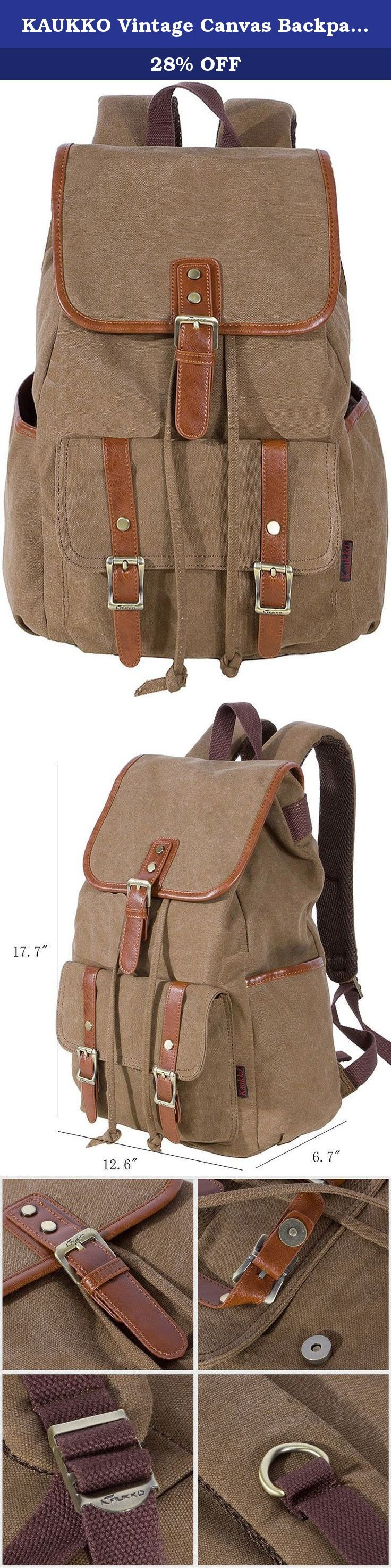 KAUKKO Vintage Canvas Backpack Denim Backpacks Rucksack Casual Daypacks for Young Women Teen Girls Satchel Hiking Bag Khaki. Product Description Special Feature 1.Mainly made with waterproof cotton canvas, retro and compatible design. 2.Special washing process: No fade, No deformation,No shrink. very healthy to carry . 3.Large capacity design, laptop ,travel necessities can be loaded. 4.Function analysis:The unique buckle design with the magnets, more flexible to carry. 5. tough straps…