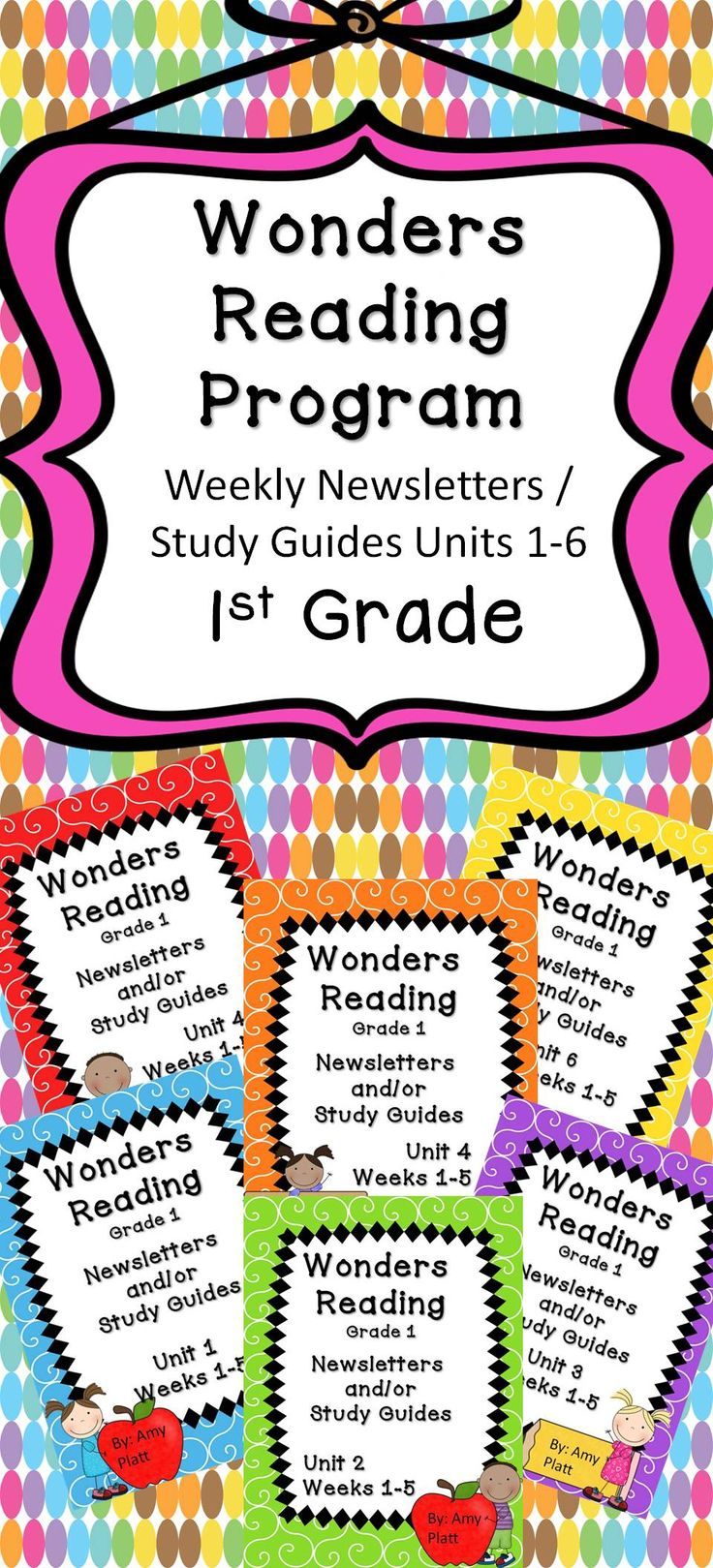 These are newsletters / study guides created to supplement the McGraw Hill Wonders Reading Program for 1st grade. All 6 Units are included and each newsletter includes: the weekly spelling words, comprehension skill, comprehension strategy, high frequency words, vocabulary words, and grammar skill for each week.