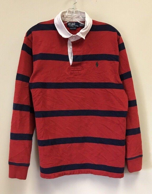 23cbb0fa6c6 Vintage Polo Ralph Lauren Striped Long Sleeve Rugby Golf Shirt Size L Blue  Red  PoloRalphLauren  shirt