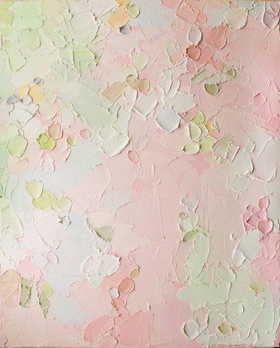 Beginning - Original Oil Painting in pale pinks, whites and fresh spring greens | Kose Bose