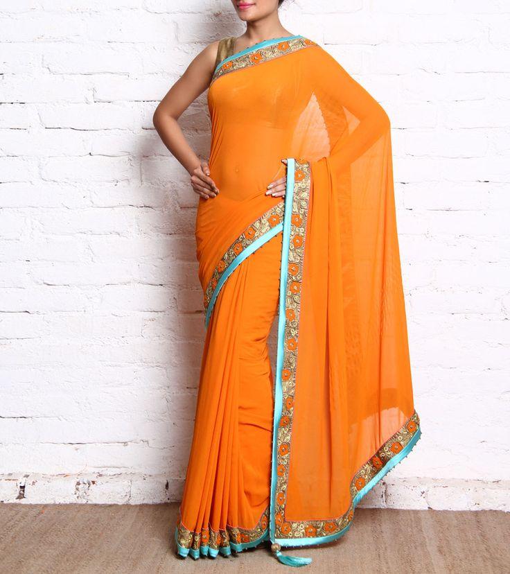 Orange Embroidered Georgette Saree #indianroots #ethnicwear #saree #georgette #embroidered #occasionwear #eveningwear #summerwear