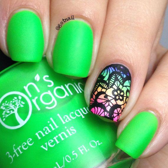 MATTE Neon Green Nail Polish – Glow in the Dark Nail Polish – Vegan Nail Lacquer…