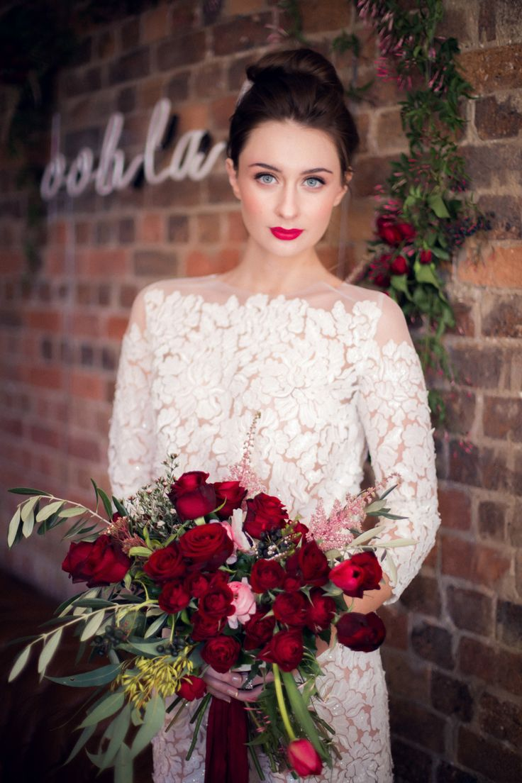 ooh la la : white neon wedding inspiration. Neon, lace, flowers, brick.  From our Trans Hotel shoot, as featured on Burnett's Boards.
