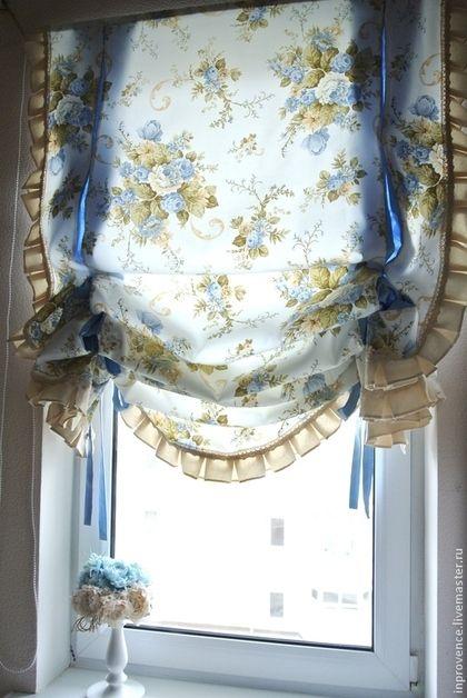 Шторы английские с голубыми розами в стиле Шебби Шик. Шторы винтажные. Шторы в…