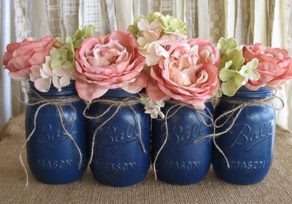 Mason Jars, Ball jars, Painted Mason Jars, Flower Vases, Rustic Wedding Centerpieces, Navy Blue Mason Jars on Etsy, $32.00 by JoJoO