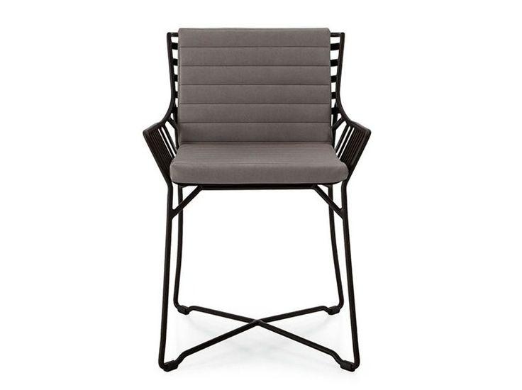 Garden chair with armrests Metal garden chair Hamptons Graphics Collection by Roberti Rattan   design Gian Vittorio Plazzogna, Roberto Papparotto