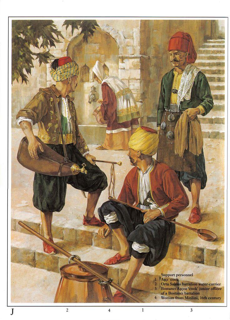 Janissaries - support personnel:  1: Aşçı cook;  2: Orta Sakası batallion…