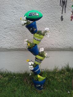 Image result for football yard sign flower pot