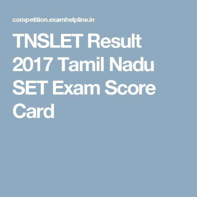 TNSLET Result 2017 Tamil Nadu SET Exam Score Card