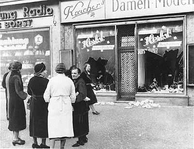 "The next store, presumably owned by ""Aryans,"" remains untouched,      Kristallnacht - The Night of the Broken Glass     .    While many Germans were privately appalled at the violence unleashed that night, few publicly spoke out against what had occurred..."