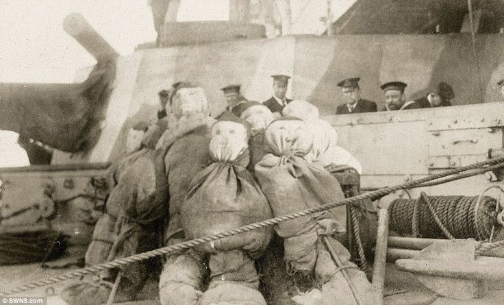 The Gallipoli landings came during a period of deadlock on the Western Front in 1915 when the British hoped to capture Constantinople in a bid to link up with Russia. Pictured, a collection of dummies on board a ship which were to be used in a 'feint landing' during the campaign