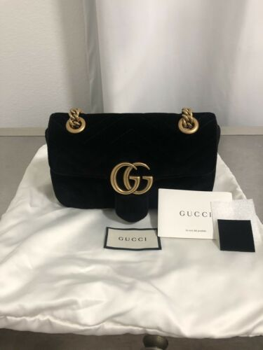 20ae8ed2323 Details about Authentic Gucci Mini GG Marmont Shoulder Bag (Black ...