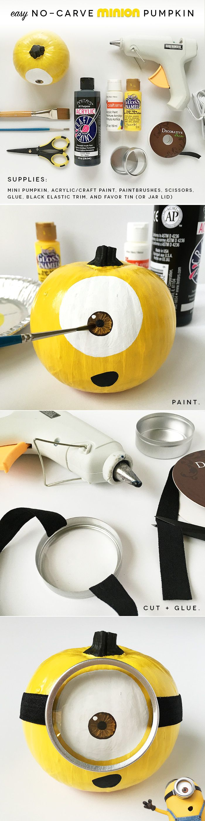 How to Make an EASY, No-Carve, Mini Minion Pumpkin | Pretty Peas Paperie