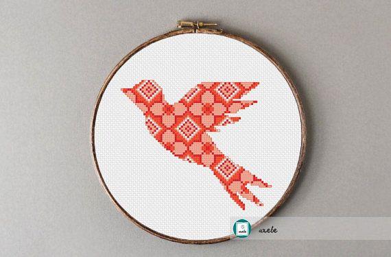 Modern cross stitch pattern geometric bird PDF  instant