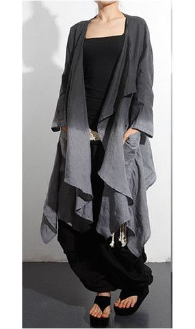 Linen Dress and Jacket Set ( Two Piece) in Black and Gray