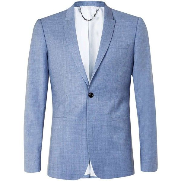 TOPMAN Limited Edition Light Blue Skinny Fit Suit Jacket (20565 RSD) ❤ liked on Polyvore featuring men's fashion, men's clothing, men's outerwear, men's jackets, blue, mens blue jacket and mens sherpa lined jacket