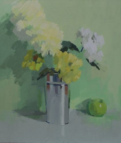 Apple and Vase of Flowers by Philip Richardson