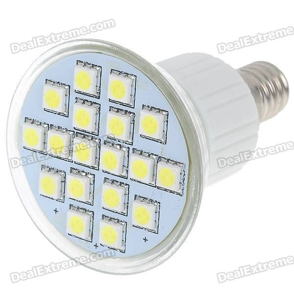 18 white ultra bright SMD 5050 LED emitters - Rated voltage: 220V - Color: White light - E14 connector - About 50000 hours' lifetime http://j.mp/1lkjg9D