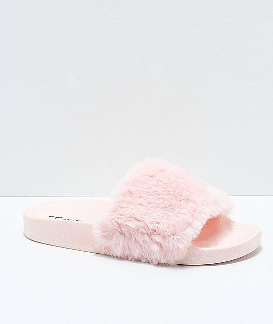 6f813618 Trillium Pink Fur Slide Sandals in 2019 | Shoes | Sandals, Shoes ...