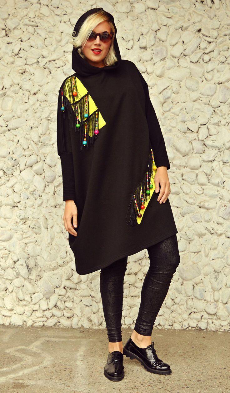 Black Extravagant Hooded Sweatshirt, Funky Loose Hoodie, Black Cotton Fleece Sweatshirt TDK217 by TEYXO https://www.etsy.com/listing/472873654/black-extravagant-hooded-sweatshirt?utm_campaign=crowdfire&utm_content=crowdfire&utm_medium=social&utm_source=pinterest