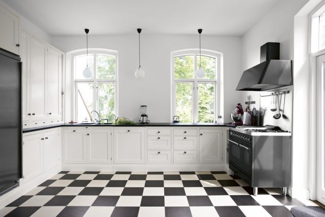 open, clean lines contrasting with patterned floor