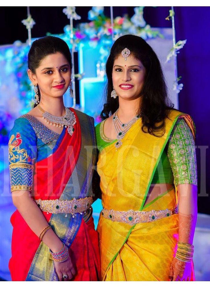 South Indian bride. Diamond Indian bridal jewelry. Jhumkis.Silk kanchipuram sarees with contrast embroidered blouse.Braid with fresh flowers.Tamil bride. Telugu bride. Kannada bride. Hindu bride. Malayalee bride.Kerala bride.South Indian wedding.