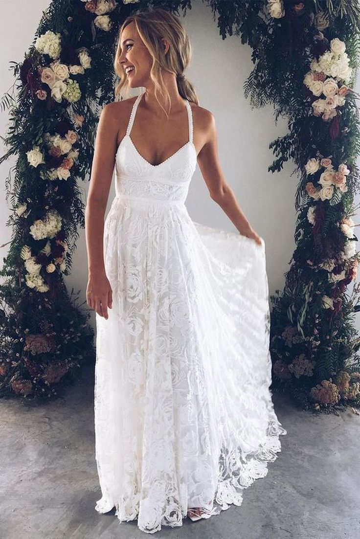 A Line Courtroom Prepare Halter Sleeveless Backless Aspect Slit Low cost Wedding ceremony Robe,Seaside Wedding ceremony Costume W159