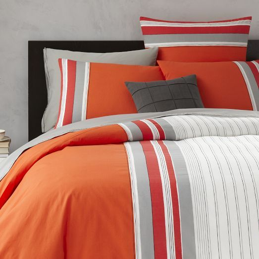 Orange Bedding From West Elm Thick N Thin Stripe Duvet