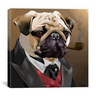 iCanvas Brian Rubenacker Pug Clothes 001 Canvas Print Wall Art | Overstock.com Shopping - The Best Deals on Gallery Wrapped Canvas