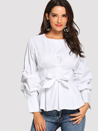 2344be3eb4 Bishop Sleeve Belted Blouse #shein#dresses,#cocktail_dresses,  #partydresses, dresses,cocktail dresses, party dresses, summer dresses,womens  clothes,shein ...