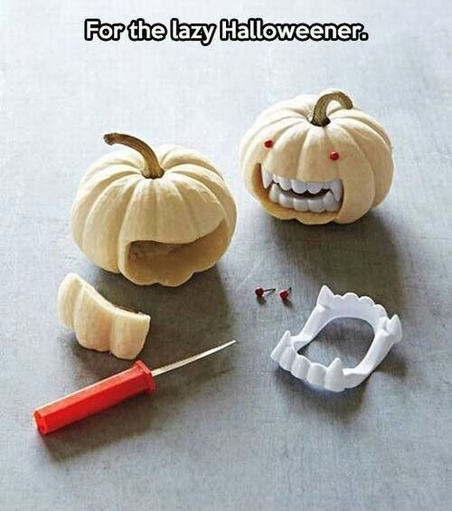 "Lazy pumpkin ""carving"""