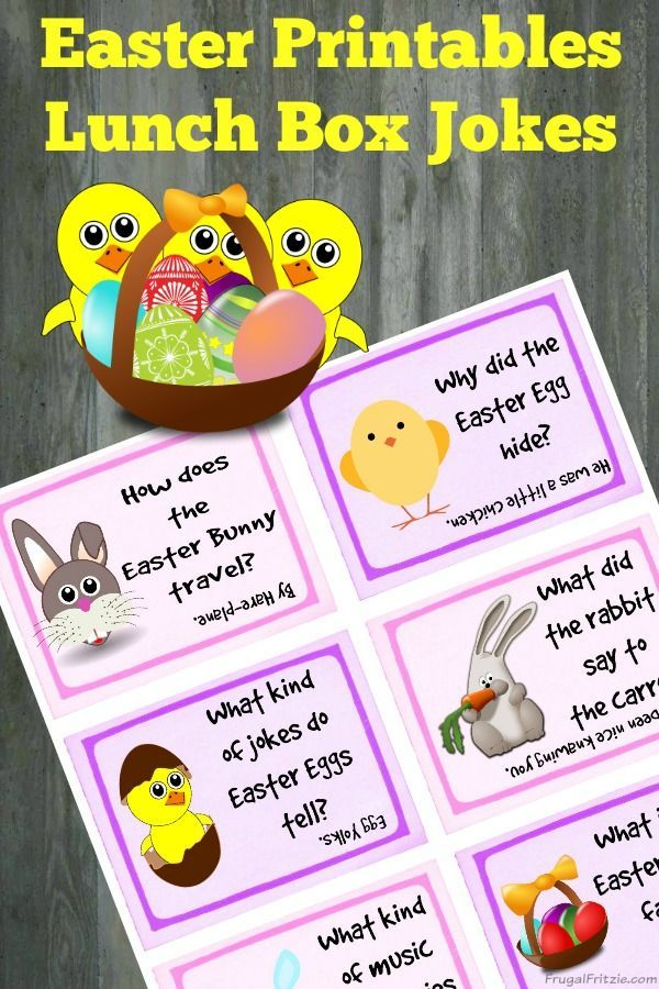 Printable Easter Kids Lunch Box Jokes. A fun set of free printable Easter themed lunch box jokes. Frugal Fritzie