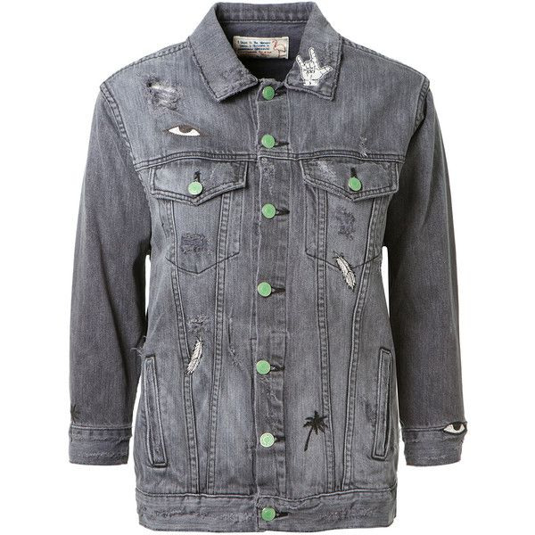 Sandrine Rose Embroidered Grey Denim Jacket (2.450 BRL) ❤ liked on Polyvore featuring outerwear, jackets, cotton jean jacket, grey denim jacket, embroidered denim jacket, gray jacket and 3/4 sleeve denim jacket