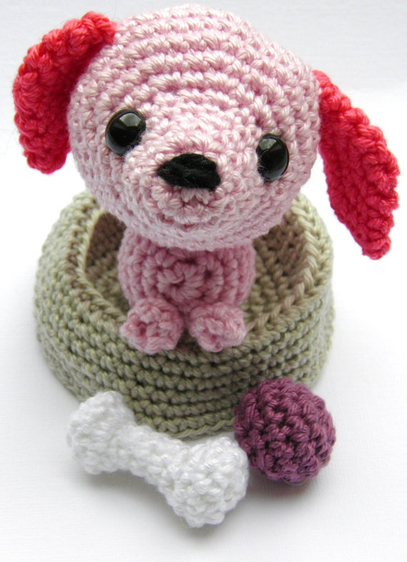 Amigurumi puppy dog in his crocheted basket with his bone ...