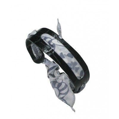 Bracelet en cuir et soie - coloris noir