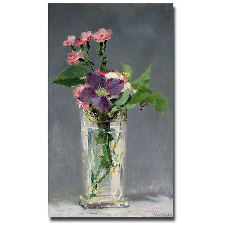 Pinks And Clemantis In A Vase 1882 By Edouard Manet