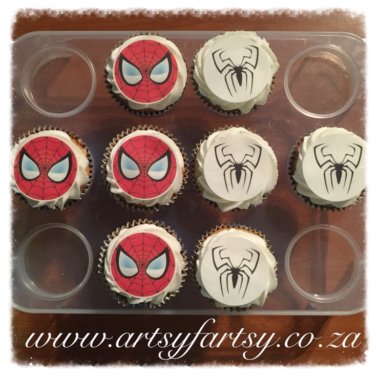 Spider-Man Edible Picture Cupcakes #spidermancupcakes