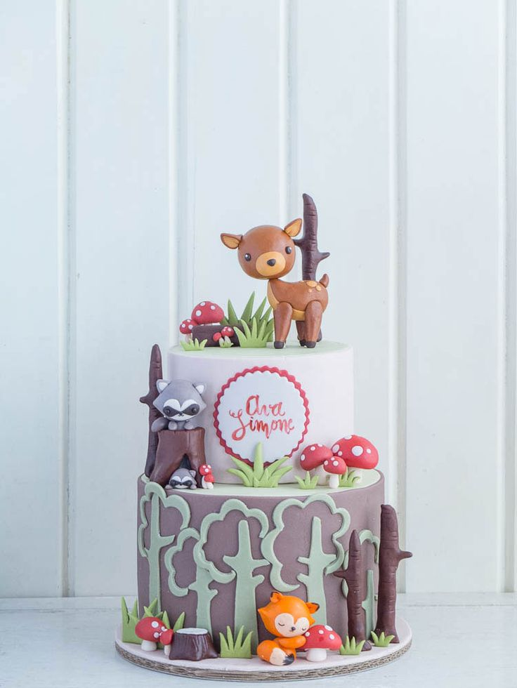 Woodland Cakes for Twins   Cottontail Cake Studio   Sugar Art & Pastries