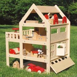 4 Floor Wooden Doll house - if he shows an interest - made in USA