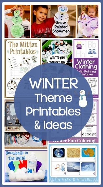 Winter Theme Printables and Ideas from 1+1+1=1