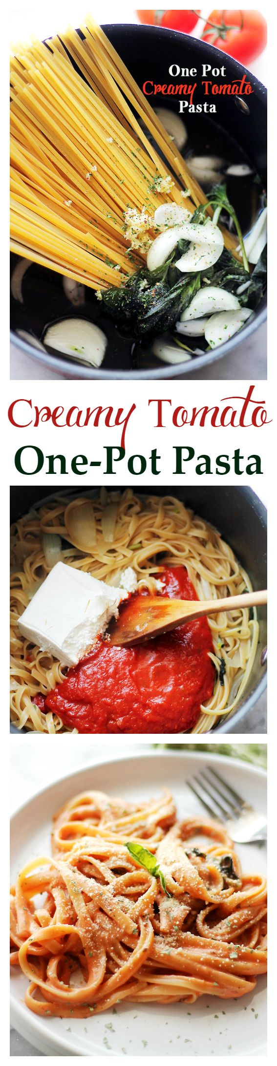 Creamy Tomato One Pot Pasta | www.diethood.com | The easiest and creamiest pasta without the cream! It all happens in the same pot and it will be on your dinner table in just 20 minutes! | #onepot #pasta