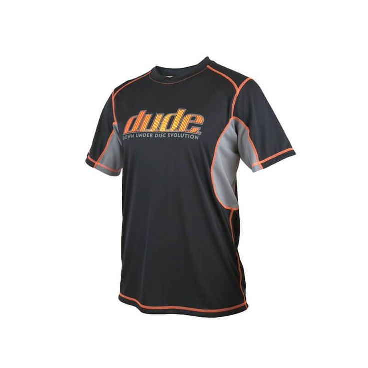Wear your commitment to your sport proudly with the original Dude Tech Shirt. DUDE isn't just another word for mate – it's Down Under Disc Evolution! Shop now: https://www.dudeclothing.com/collections/men/products/tech-shirt-1?variant=3506973893