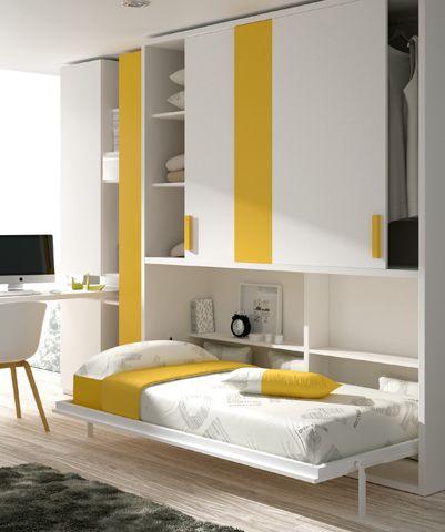 Habitación con #cama #abatible, #armario #corredero y #escritorio. http://www.ros1.com/es/producto/kids-touch-77-abatibles