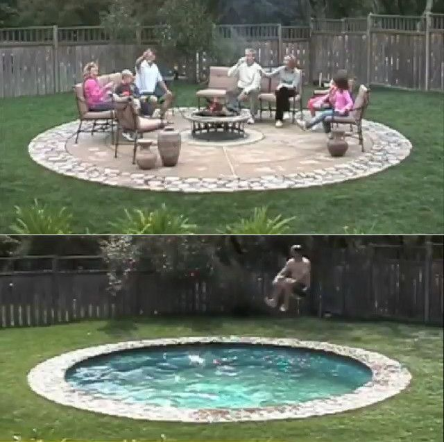 A pool that turns into a patio...what a great idea!!
