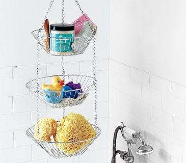 Use a kitchen basket to organize bathroom supplies.