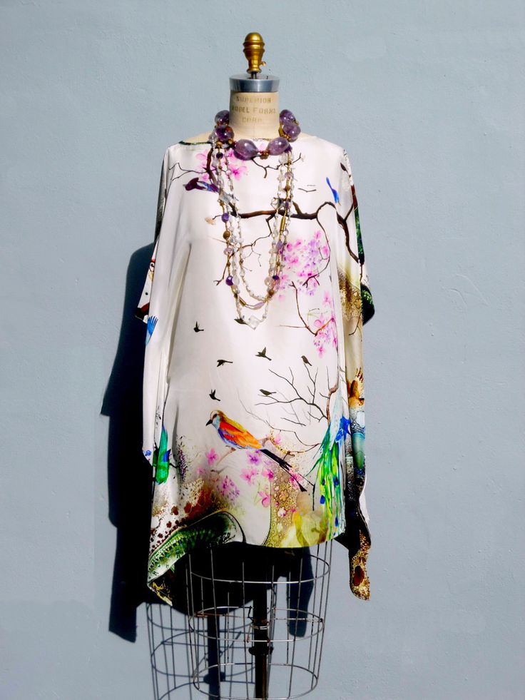 SILK CAFTAN JAPANESE BIRDS AND FLOWERS – IMPERIO jp: