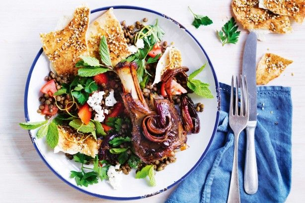 Create a meal to remember with these tender lamb shanks, drizzled in syrup and served with a zesty fetta and lentil salad.