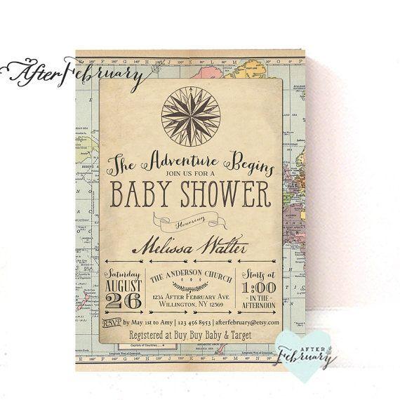 Adventure Baby Shower Invitation Around the World Baby Shower Invite Vintage Retro Travel Baby Shower // Printable OR Printed No.1269BABY