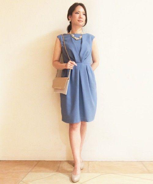 DRESS(ドレス)の■ノーベル W FACE ウエストタックドレス■式典・結婚式・二次会ワンピース・ドレス(ドレス) ブルー